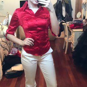 Red Bebe silk button down top